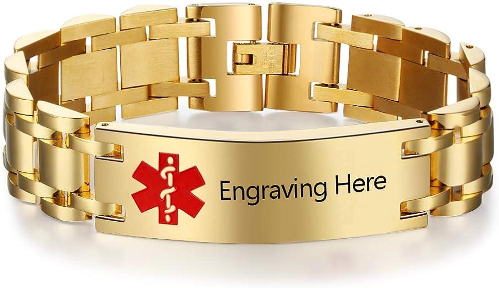 Personalized Mens Stainless 35% OFF Steel Bracelet Tag Award Custom Bracele ID