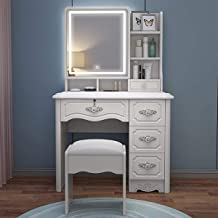 Dressing Table Set, Dressing Table with 3-Color Touch Screen dimmable Mirror, Dressing Table with 5 Drawers and Stool, Dre...