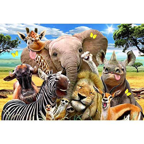 Genneric-p Lustige Tiere vor der Kamera, darunter Löwen, Zebras, Elefanten, Giraffen, Nashörnern, usw. - Holzpuzzle 1000 Stück, 75,5 X 50.5cm for Erwachsene - Animal World Series p