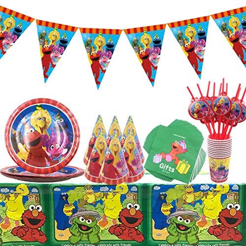 WENTS Sesame Streets Birthday Party Set Compleanno Tazza Tovaglioli Piatti Tovaglia 58 Pezzi Kit di Decorazioni di Compleanno per Ragazzo Baby Shower 10 Ospiti
