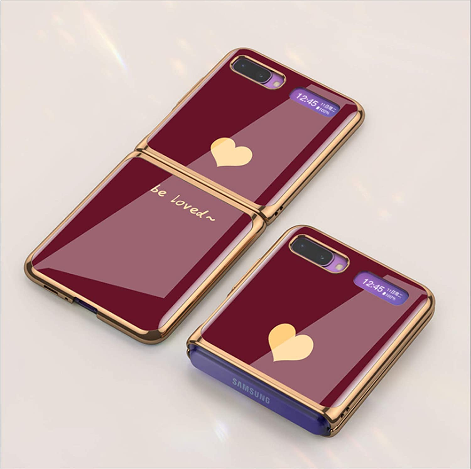 Luxury Tempered Glass Phone Case Protective Skin for Samsung Galaxy Z Flip 5G 2020 Fashion Electroplated PC Back Cover (Wine Red)…