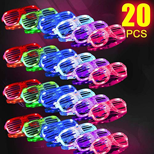 HDHF Light Up Glasses,Glow in The Dark Party Supplies 20 Pack 6 Color LED Glow Glasses,LED Sunglasses Costumes Neon Flashing Plastic Shutter Shades,Neon Party Favors for Birthday Valentines Day