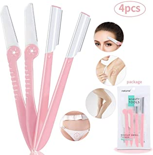 Eyebrow Razors Shaving Cheek Facial Hair Remover Shapers Razors Shavers Shaping Grooming Trimmers for Women - Pack of 4 Pink
