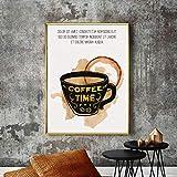 ganlanshu Decoración de café café Dorado Pintura al óleo póster y Pintura al óleo sobre Lienzo, decoración de Restaurante,Pintura sin Marco,50X75cm
