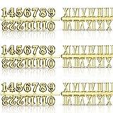 Kit Numeri per Orologio Inclusi Numero Arabo e Numero Romano Numeri Orologio Digitale Fai da Te per Sostituzione di Design Riparazione Accessori per Orologi (Oro, 6 Pezzi)