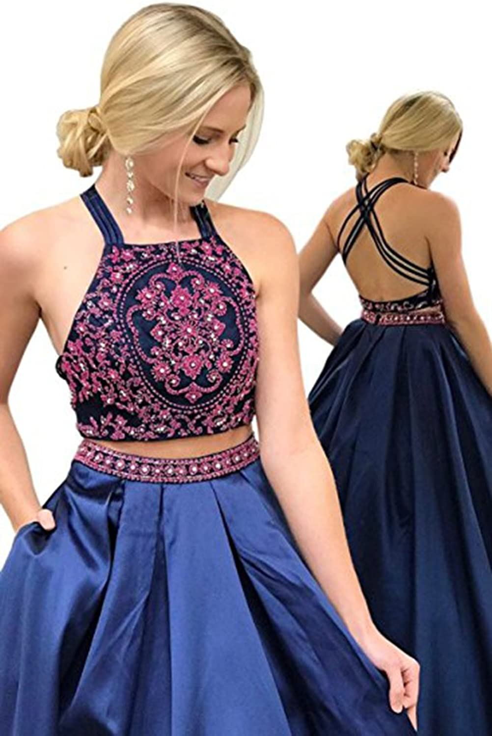 Chenghouse 2 Piece Prom Dresses 2018 Backless Prom Party Dress