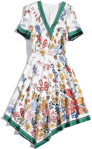 WLFCMJ T-Shirt à Manches Courtes pour Femmes d'été à Encolure dégagée Contrastante Couleur Robe Longue et irrégulière Blanc Code S