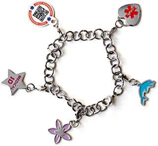 Dynotag Web Enabled QR Code Smart Medical and Emergency Contact Information Charm Bracelet Kit with 5 Movable Charms & Loop Chain
