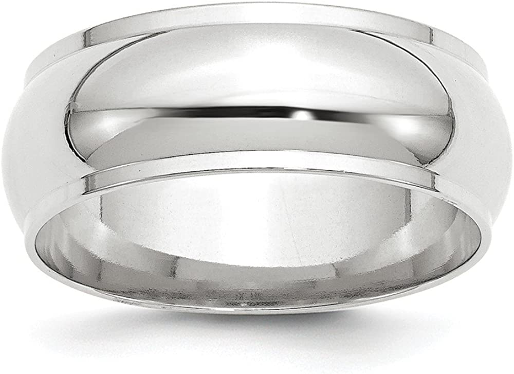 Solid 14k White Gold 8mm Half Round with Edge Wedding Band