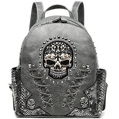 Sugar Skull Punk Art Rivet Studded Biker Purse Women Fashion Backpack Bookbag Python Daypack Shoulder Bag (Taupe)