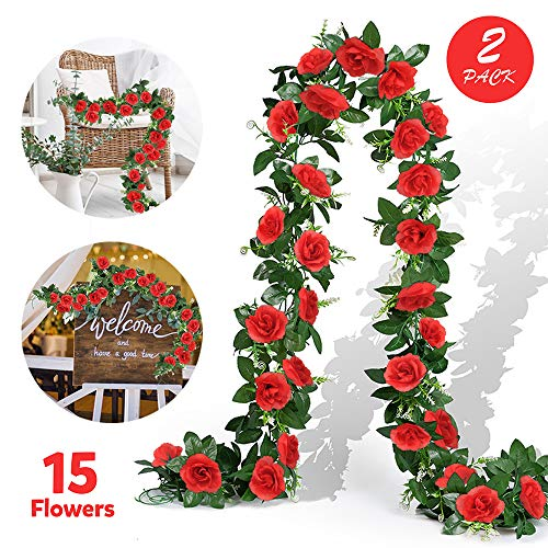 EPLST 2 Pack/ 15.7 FT Artificial Flowers Lifelike Silk Decorative Faked Flower Rose Vine Rattan Cane Garland Wall Hang Plant Wedding Party Home Garden Hotel Office Arch Arrangement Decoration (Red)
