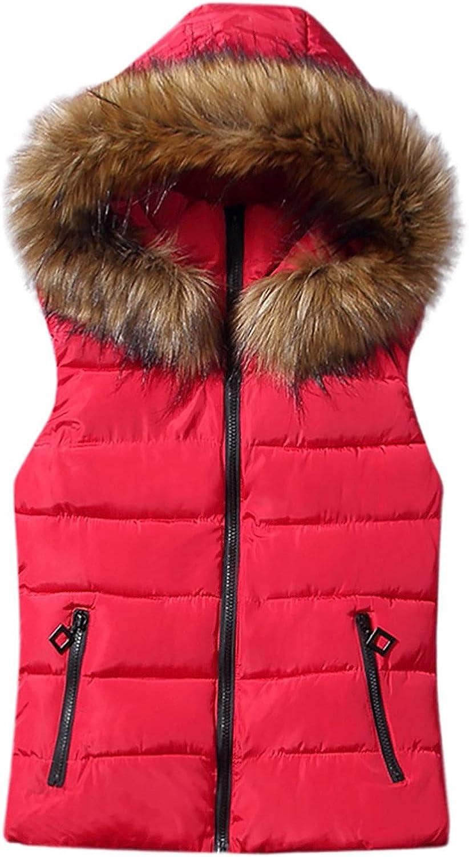 Women Short Outerwear Cotton-padded Jackets Pocket Faux Hooded Vest Coats Raincoat