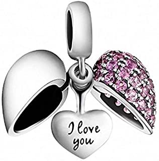 SOUKISS I Love You Heart Charm 925 Sterling Silver Dangle Bead Crystal Fits European Bracelet Necklace