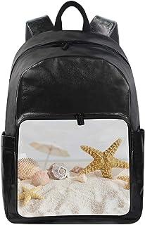 MONTOJ Beach Starfish Shells Mochila de viaje de lona unisex mochila escolar mochila