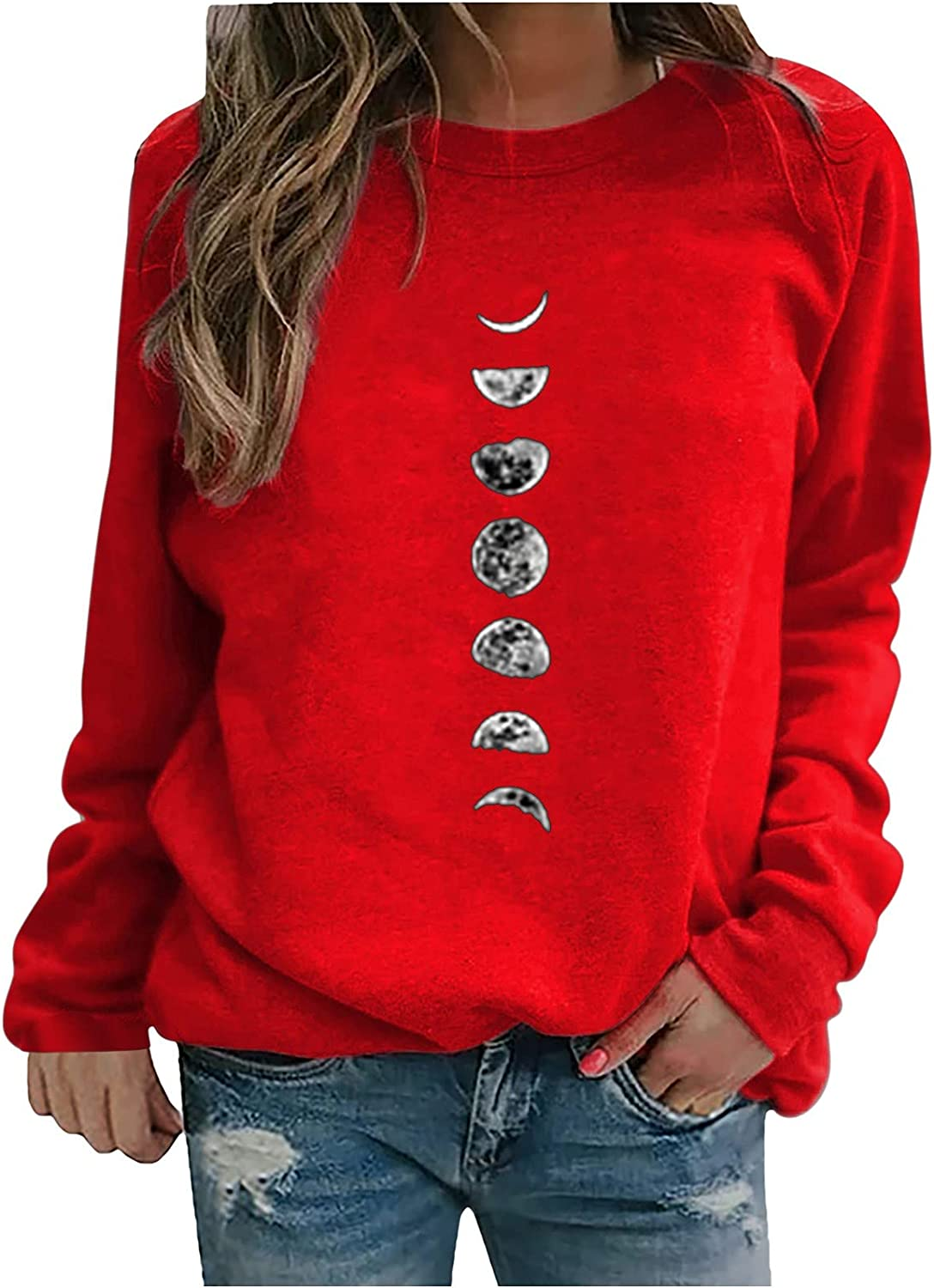Women's Crewneck Graphic Tees Casual Long Sleeve Sweatshirts Loose Fit Blouses Lightweight Pullover Fall Fashion Tops