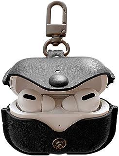 Nigaee AirPods Pro ケース 充電ケースカバー レザー 高級感 保護ケース イヤホン 収納ケース 耐衝撃 キズ防止 着脱簡単 AirPods Pro用(黑)
