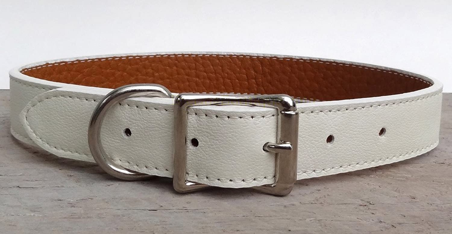 Luxury Italian Leather Tuscany Dog Collar  White  12