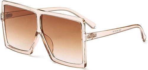 GRFISIA Square Oversized Sunglasses for Women Men Flat Top Fashion Shades