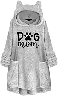 FEISI22 Women Solid Fleece Blouse Hoodies Sweatshirts Asymmetrical Hem Plus Size Hoodie Top Plush Sweater with Pocket