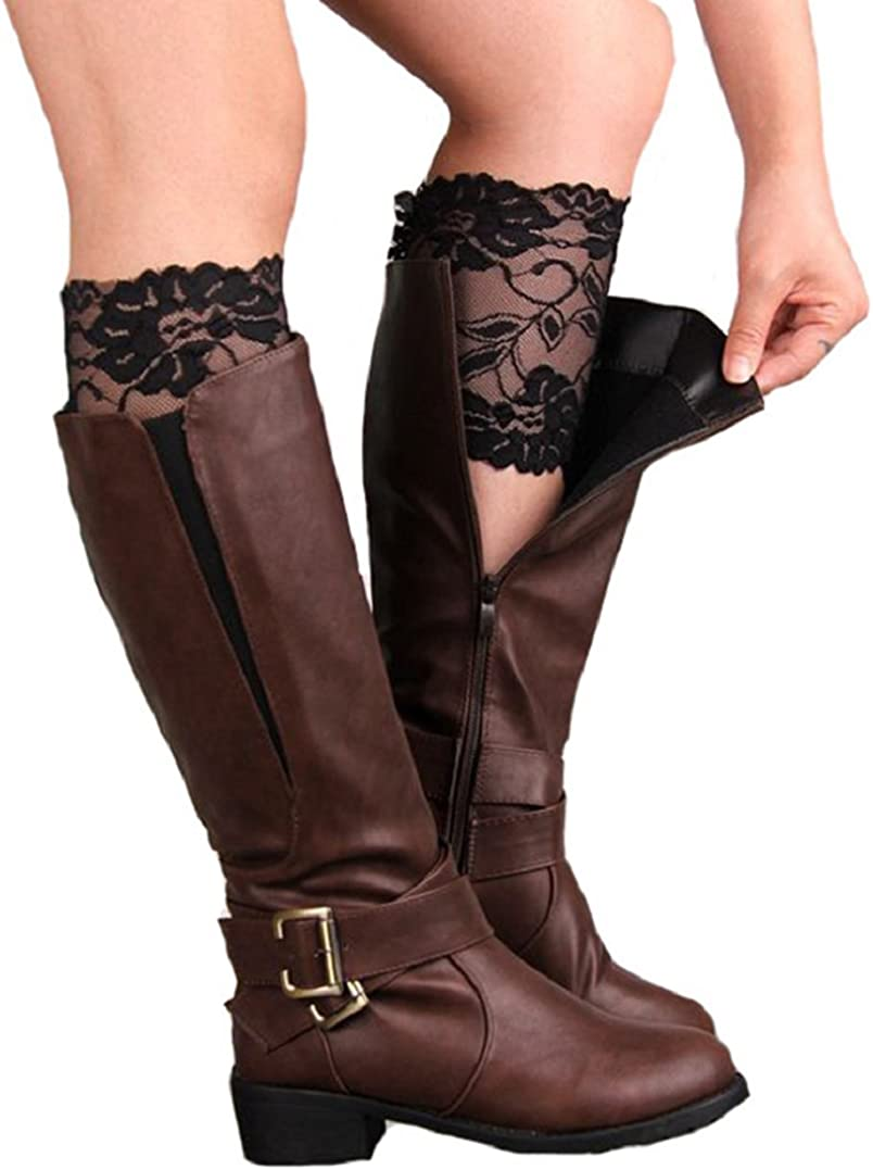 Polytree Women's Stretch Lace Crochet Boot Cuffs Leg Warmers Boot Socks