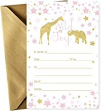 Pink Jungle Animal Invitations with Gold Envelopes - Pack of 15