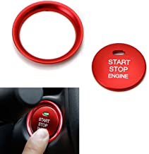 iJDMTOY 2pc Set Red Aluminum Keyless Engine Push Start Button & Surrounding Decoration Ring Compatible With Mazda 3 6 CX-3...
