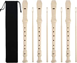 Pangda 4 Pack 8 Hole Descant Soprano Recorder with Cleaning Rod and instruction, Black Storage Bag, German Style (Ivory White)