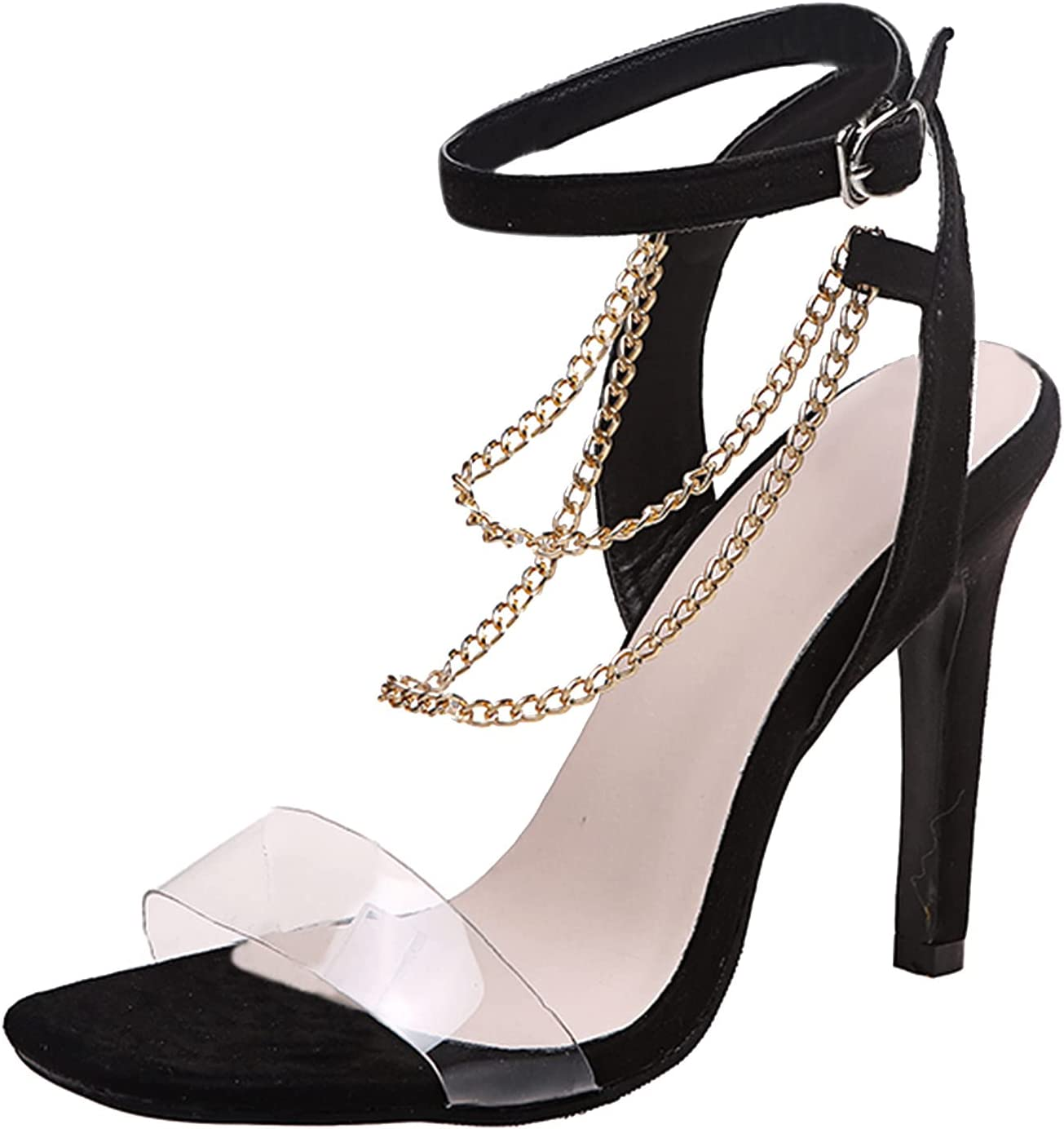 Genuine Popular shop is the lowest price challenge Womens Ladies Sexy High Heel Squared Casual Toe Chain Sandals Bu