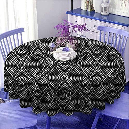 Mantel redondo de camping en blanco y negro con círculos concéntricos de puntos inspirados en el arte australiano Aborginial sensación cálida diámetro 99 cm gris negro blanco