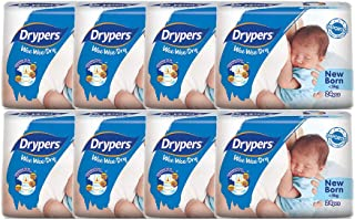 Drypers Wee Wee Dry New Born, Case, 8 packs x 24 Count
