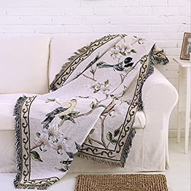 50  X 60  Double Sided Cotton Woven Couch Throw Blanket Featuring Decorative Tassels - Flowers/Birds, White/Green/Grey