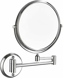 Double-Sided Swivel Makeup Mirror Vanity Mirror Polish Chrome No light Vanity Makeup Mirror 360°Swivel Bathroom Folding Fl...