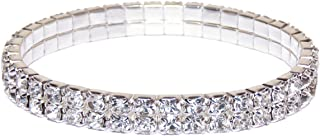 Swarovski Element Austrian Crystal Stretch Bracelet Jewelry in Silver Tone