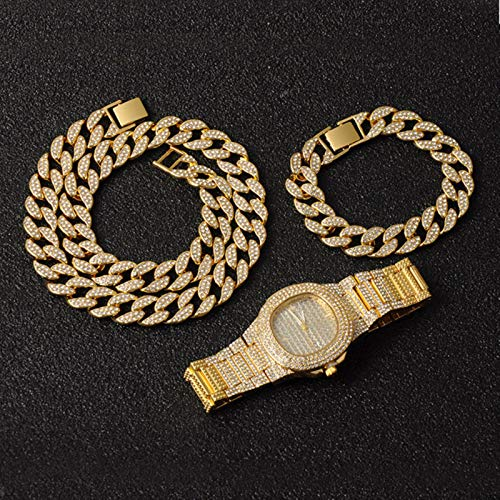 Unbekannt Gold Gold Necklace +Watch+Bracelet Hip Hop Miami Curb Cuban Chain Iced Out Paved Rhinestones CZ Bling Rapper for Men Jewelry