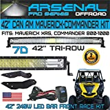 No.1 7D 42 inch Tri-Row Curved Pro Optics Light Bar Kit for Can Am Maverick XRS Commander 800 1000, 7D=648W 64,800LM 7D Spot Flood combo beam, Front Mounts and LED Harness