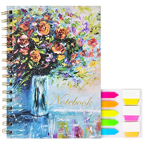 Ruled Notebook/Journal, Spiral Lined Journal Hardcover Notebook 160 College Ruled Paper with Index Tab,Floral Twin-Wire Binding Journal with Back Pocket,8.25 x 6.25 inch
