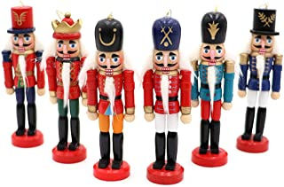 OurWarm 6Pcs Nutcracker Ornaments Wooden Nutcracker Figures Christmas Decorations for Xmas Tree, Table Decor