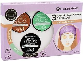 Set de 3 Mascarillas Faciales con Turbante de Regalo: Arcilla Roja Antioxidante Verde Detox y Negra con Carbón Activo Pur...