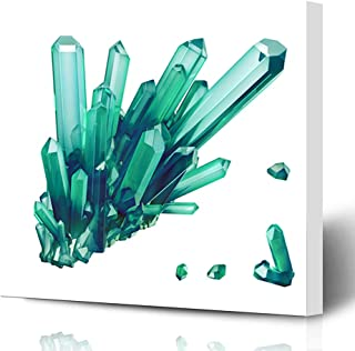 Ahawoso Canvas Prints Wall Art Printing 16x12 Esoteric Rock Render Emerald Green Crystal Abstract Nature Gem Geology Geometric 3D Shapes Amulet Painting Artwork Home Living Room Office Bedroom Dorm