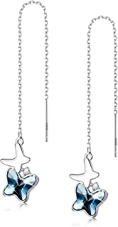 Sllaiss Made with Swarovski Crystals Tassel Threader Earrings for Women Hypoallergenic Double Butterfly Dangle Drop Earrings Long Chain Ear Line Jewelry