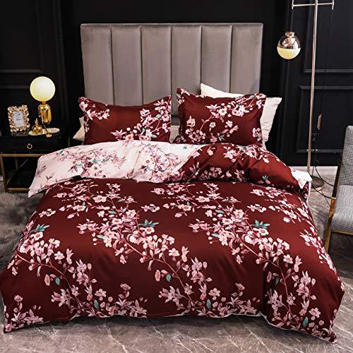 ENCOFT 3 Teilig Bettwäsche Set Rot Doppelbett Super Weiche Blumen Bettwäsche inkl.Bettbezug 200x200cm und 2 Kissenbezüge 50x75 cm