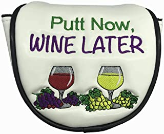 Giggle Golf Putt Now Wine Later Mallet Putter Cover | Great Golf Accessories & Golf Gifts