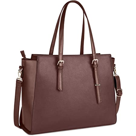 NEWHEY Handtasche Damen Shopper Damen Große Dunkelbraun Gross Laptop Tasche 15.6 Zoll Elegant Leder Umhängetasche für Büro Arbeit Schule