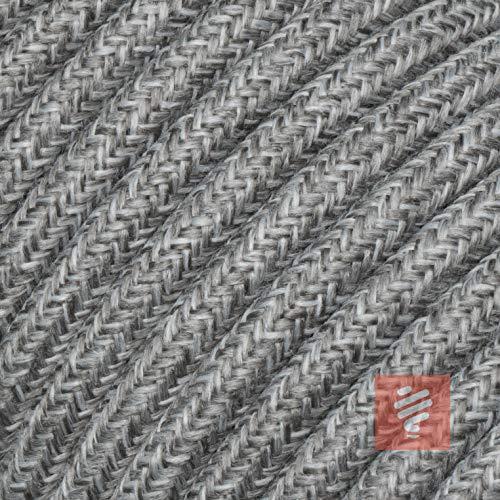 Textilkabel für Lampe, Textilummanteltes Rundkabel, dreiadrig 3x0,75mm², grau-melange