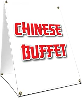 A-Frame Sidewalk Chinese Buffet Sign with Graphics On Each Side | 24