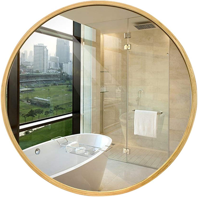 Mirror Wooden Frame Round mirror European Wall Hanging Bathroom mirror Fashion HD mirror (Size   50cm)