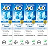 A+D Zinc Oxide Diaper Rash Treatment Cream, Dimenthicone 1%, Zinc Oxide 10%, Easy Spreading Baby Skin Care, 4 Ounce Tube (Pack of 4)