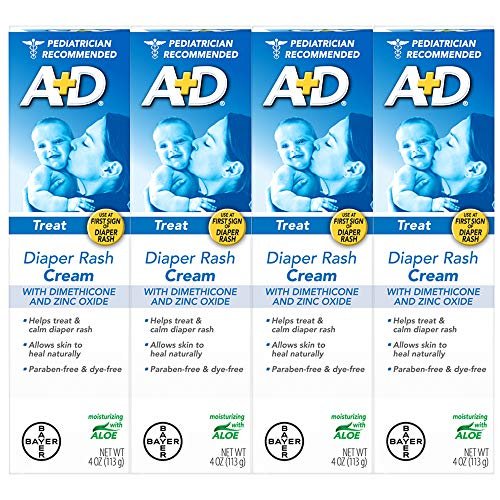 AD Zinc Oxide Diaper Rash Treatment Cream Dimenthicone 1% Zinc Oxide 10% Easy Spreading Baby Skin Care 4 Ounce Tube Pack of 4