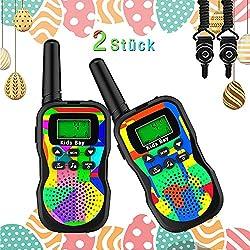 Kids Bay Walkie Talkie Kinder Spielzeuge Funkgeräte 8 Kanäle 4KM Reichweite Eingebaute Taschenlampe 2 Schlüsselbänder Wasserdicht Geschenk für Jungen/ Mädchen , 2 Stück Tarnung