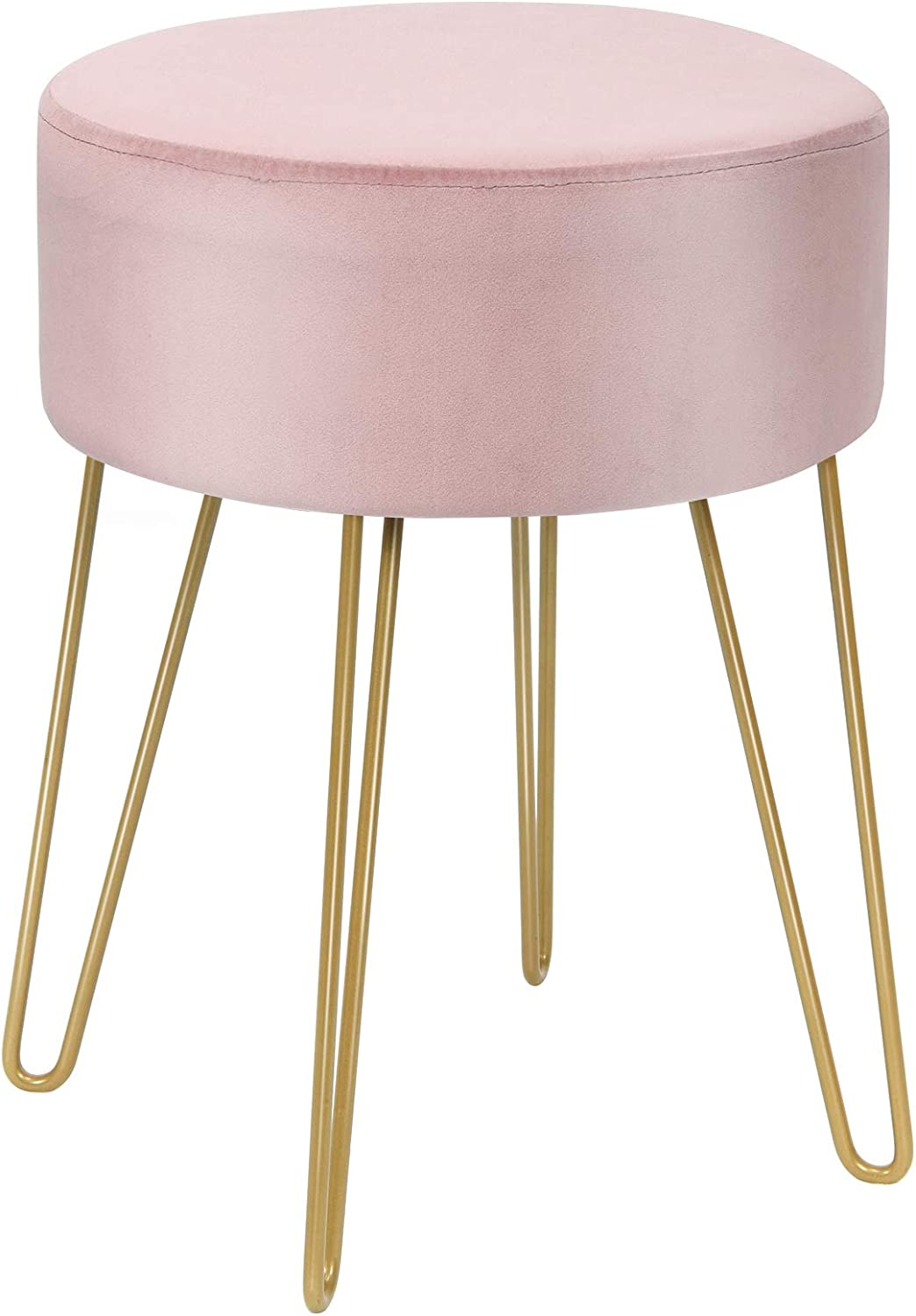 Giantex Velvet Footrest Stool Round Reservation Sturdy New arrival Meta Gold Modern with